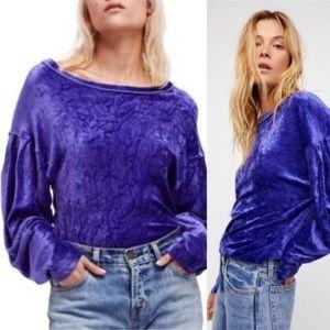 Free People   Milan Crushed Velvet Purple Sweater